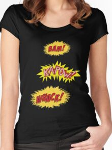 Bam, Kapow, Whack, Comic Women's Fitted Scoop T-Shirt