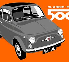 Classic Fiat 500 grey by car2oonz