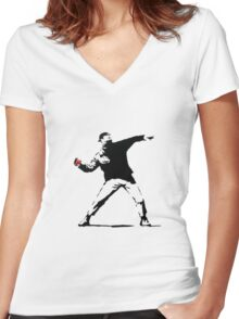 Banksy Pokeball Throw Women's Fitted V-Neck T-Shirt