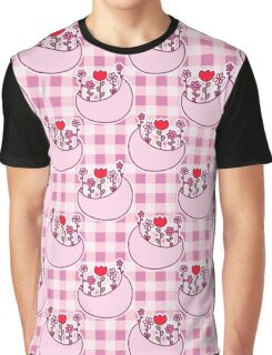 Pink Flower Moon Gingham Pattern Graphic T-Shirt