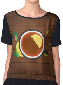Tea time. Cup of tea with lemon. Wooden background Chiffon Top