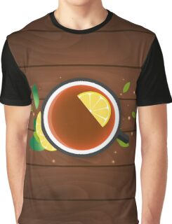 Tea time. Cup of tea with lemon. Wooden background Graphic T-Shirt