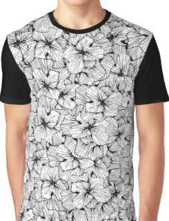 Minimal Abstract Black and White Drawn Flowers Graphic T-Shirt