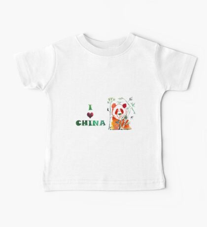 Watercolor  Asian background.  I love  China. Baby Tee