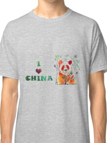 Watercolor  Asian background.  I love  China. Classic T-Shirt