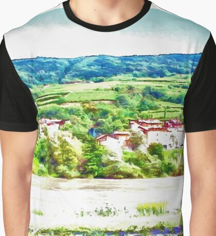 Landscape with river and hills Graphic T-Shirt