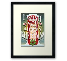 Christmas Card with English Cabin Framed Print