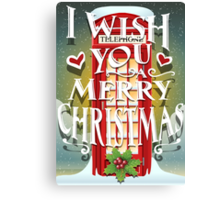 Christmas Card with English Cabin Canvas Print
