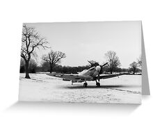 Spitfire in the snow black and white version Greeting Card