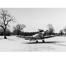 Spitfire in the snow black and white version Photographic Print