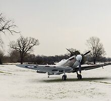 Spitfire in the snow by Gary Eason + Flight Artworks