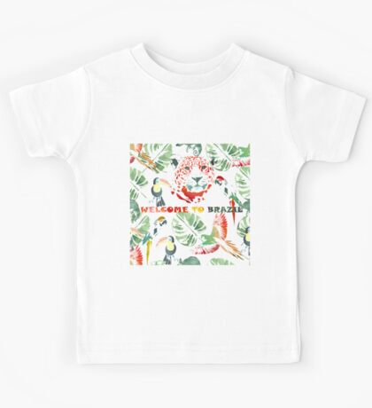 Watercolor  pattern.Welcome to Brazil. Kids Tee
