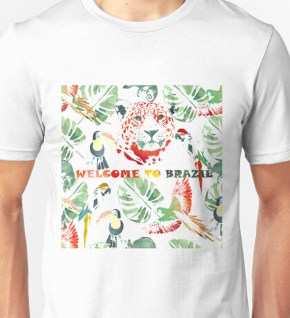 Watercolor  pattern.Welcome to Brazil. Unisex T-Shirt