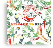 Watercolor  pattern.Welcome to Brazil. Canvas Print