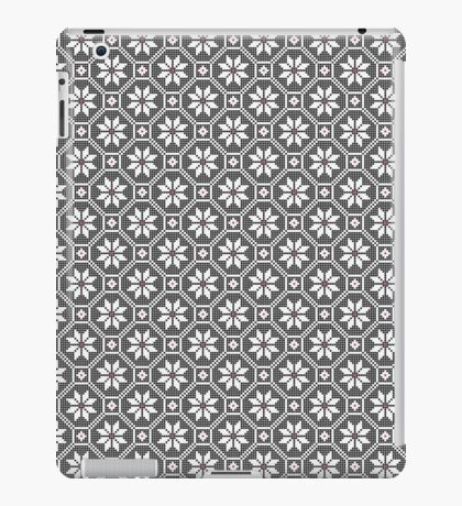 White fine isolated lace texture on black background iPad Case/Skin