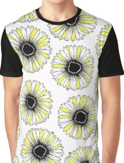 White Black and Yellow Simple Sunflowers Pattern Graphic T-Shirt