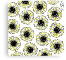 White Black and Yellow Simple Sunflowers Pattern Canvas Print