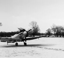 Spitfires in the snow black and white version by Gary Eason + Flight Artworks
