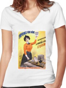 French Vintage Advertising Poster Restored Women's Fitted V-Neck T-Shirt