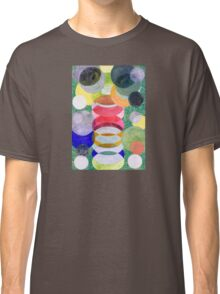 Overlapping Ovals and Circles on Green Dotted Ground Classic T-Shirt