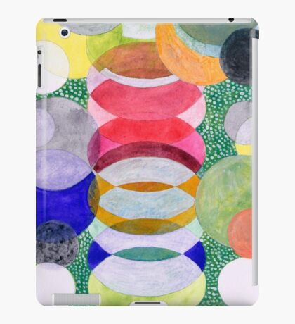 Overlapping Ovals and Circles on Green Dotted Ground iPad Case/Skin
