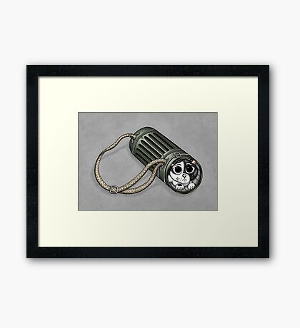 Hidden in the gas mask container Framed Print