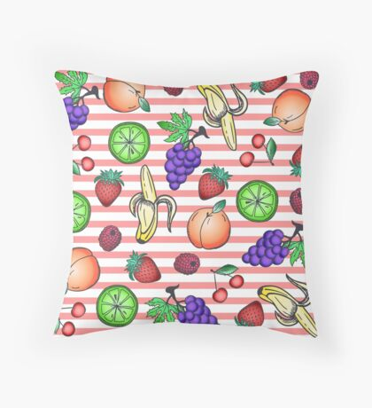Vibrant Fruit Cocktail Illustrations and Peach Stripes Throw Pillow