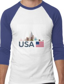 USA, New York skyline. Statue of Liberty Men's Baseball ¾ T-Shirt
