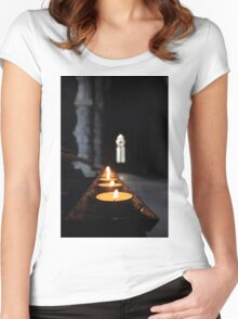 St Conans Kirk - Prayers Candles (interior) Women's Fitted Scoop T-Shirt
