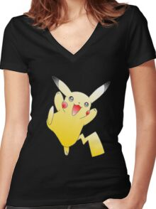 Pikachu Power! Women's Fitted V-Neck T-Shirt