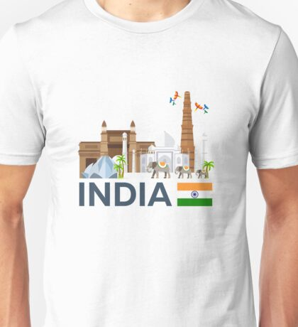 India, skyline. Taj mahal Unisex T-Shirt
