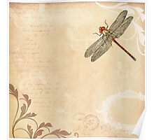 Dragonfly on old handwritten and floral vintage background Poster