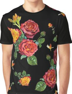 Red roses on black background Graphic T-Shirt