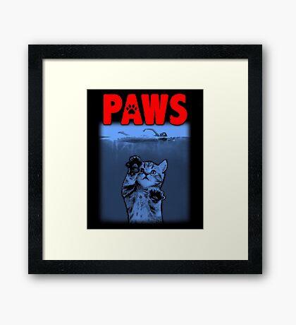 PAWS Kitten JAWS Parody Framed Print