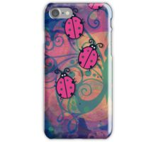 Ladybugs doodle cartoon on colorful butterfly background iPhone Case/Skin