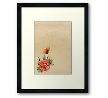 Watercolor flower and butterfly on old parchment paper Framed Print