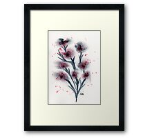 Dark Red and Grey Flowers Original Watercolor Painting Art Print from Watercolor Painting Fine Art Print Watercolor Wall Art Framed Print