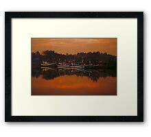 Chumphon river side at sunset, Thailand Framed Print