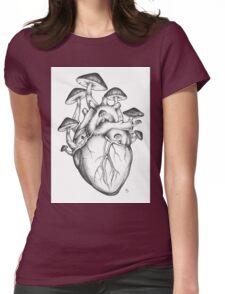 Mushroom Heart Womens Fitted T-Shirt