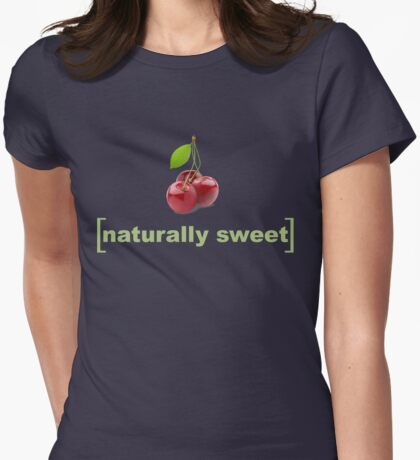 Naturally Sweet Photographic Cherries Cherry Realistic Fruit and Veggie Pun Shirts Womens Fitted T-Shirt