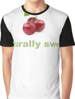 Naturally Sweet Photographic Cherries Cherry Realistic Fruit and Veggie Pun Shirts Graphic T-Shirt