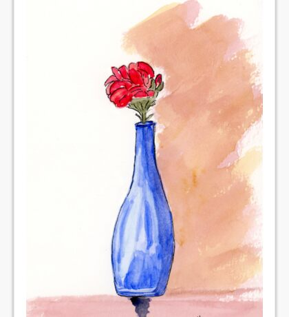 Red Flower on a Vase Original Watercolor Painting Art Print from Watercolor Painting Flower Art Print Watercolor Wall Art Sticker