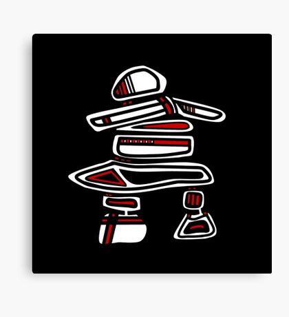 Pacific Northwest Black and White Inuksuk Icon Canvas Print