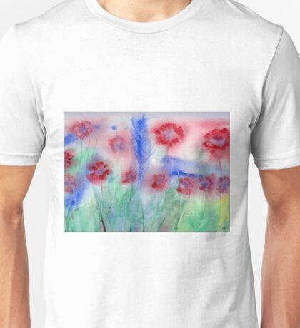 Red Flowers Abstract Original Watercolor Painting Art Print from Watercolor Painting Flowers Art Print Watercolor Wall Art Unisex T-Shirt