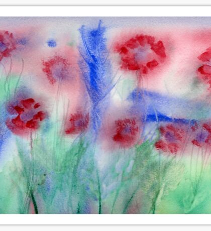Red Flowers Abstract Original Watercolor Painting Art Print from Watercolor Painting Flowers Art Print Watercolor Wall Art Sticker