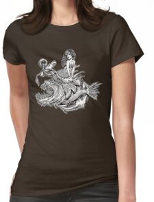 Mermaid and Angler Fish Womens Fitted T-Shirt