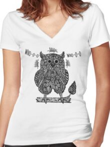 Ethnic abstract owl  Women's Fitted V-Neck T-Shirt