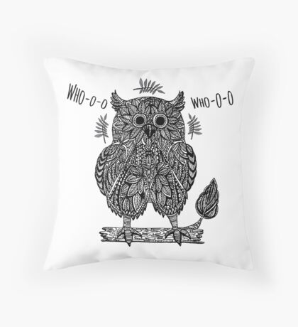Ethnic abstract owl  Throw Pillow