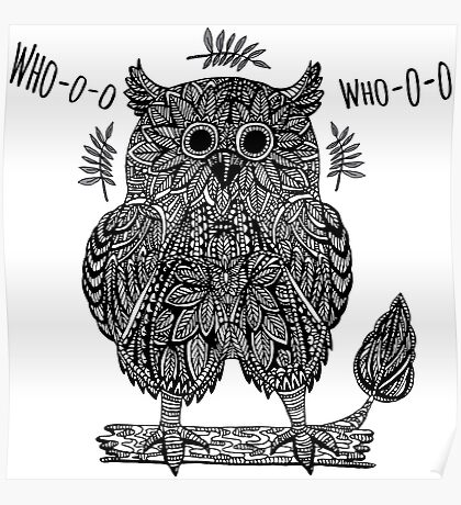 Ethnic abstract owl  Poster