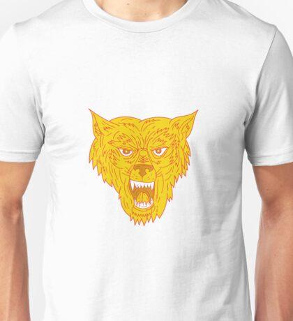 Angry Wolf Head Mono Line Unisex T-Shirt